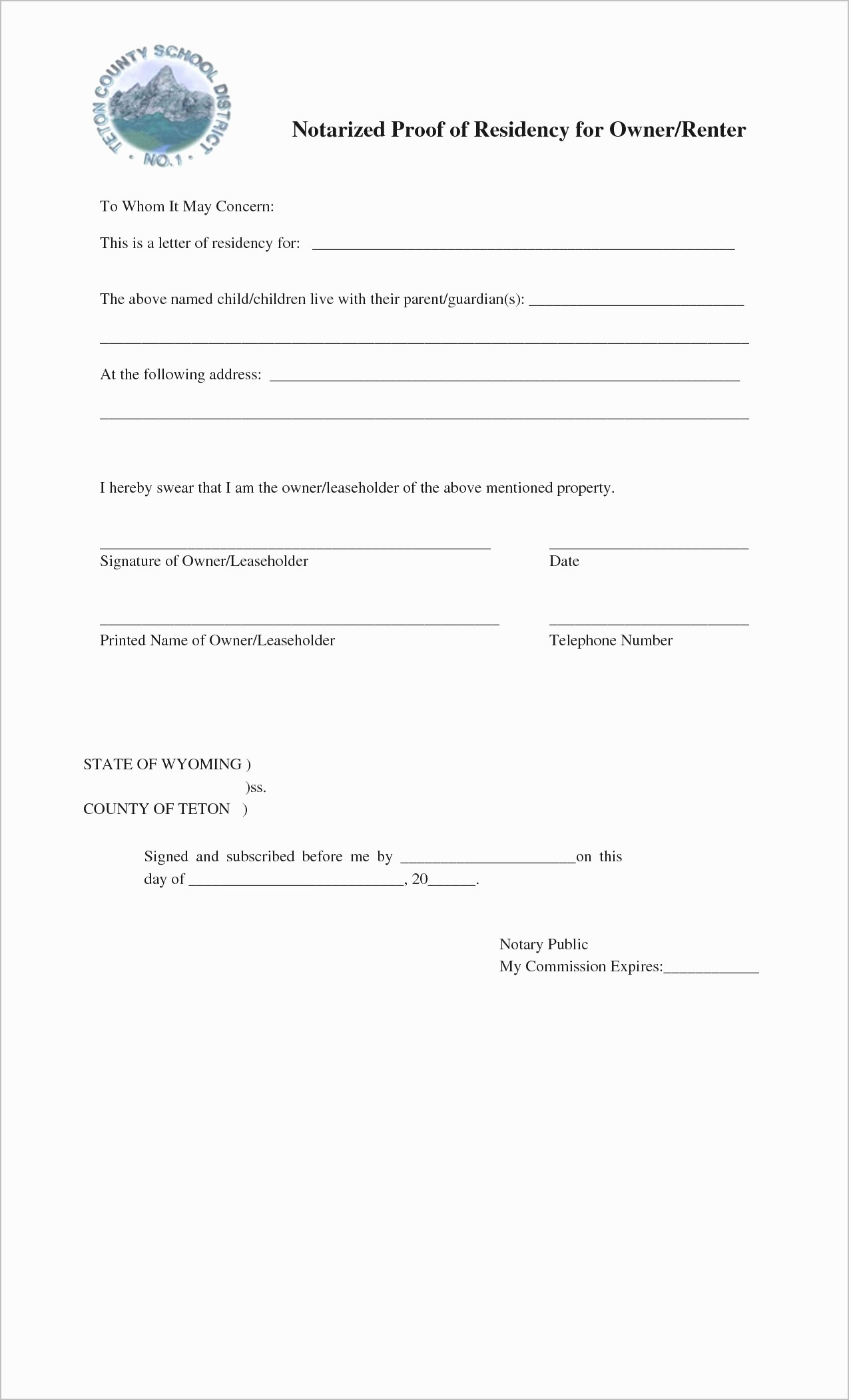 Printable Notarized Letter Of Residency Template - 10 Best Notarized Document Template Cvleconcept
