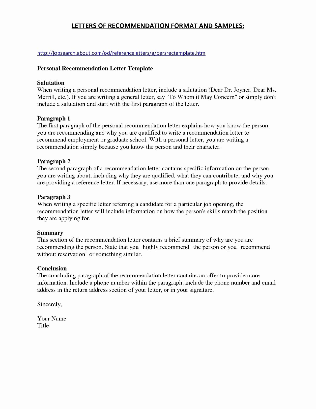 Personal recommendation letter template free samples for What does a cover letter entail