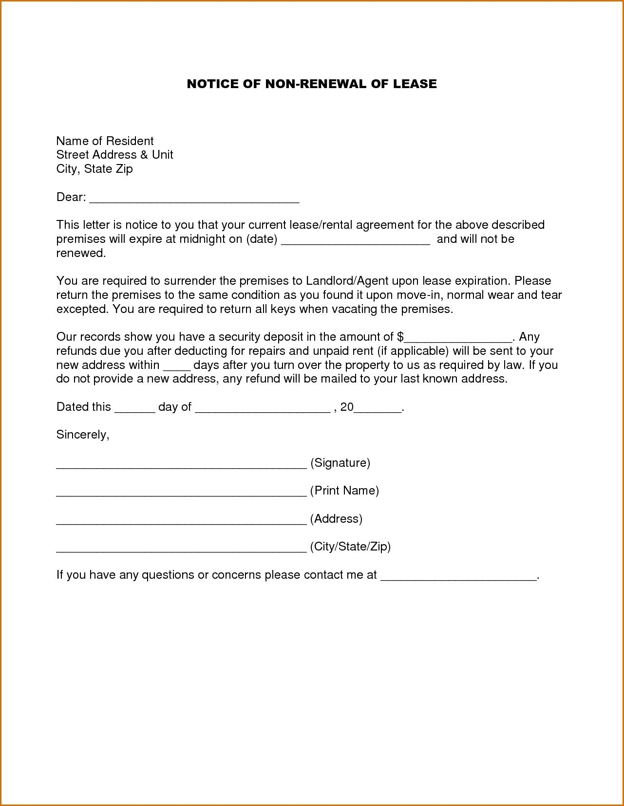 Lease Renewal Reminder Letter Template - 19 Best Lease Renewal form