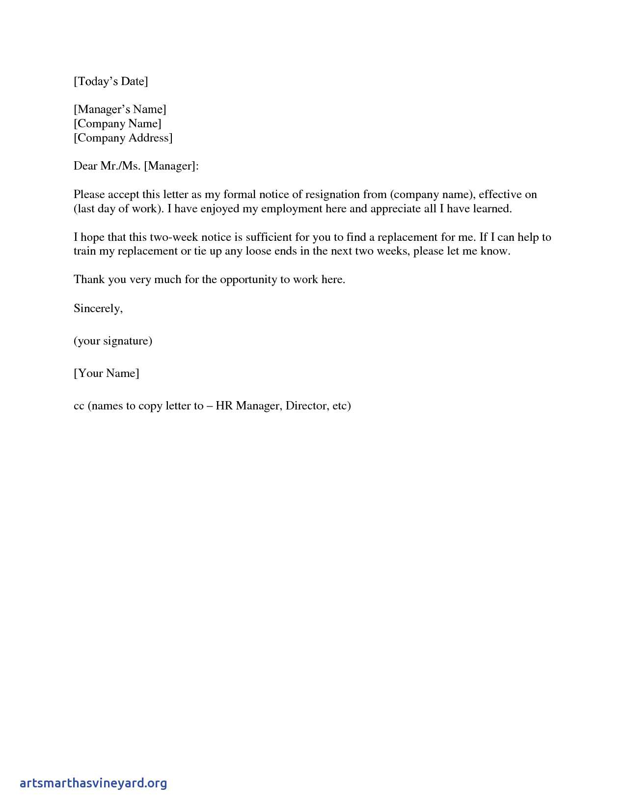 2 Week Resignation Letter Template - 2 Weeks Notice Letter Resignation Letter 2 Week Notice From Two Week