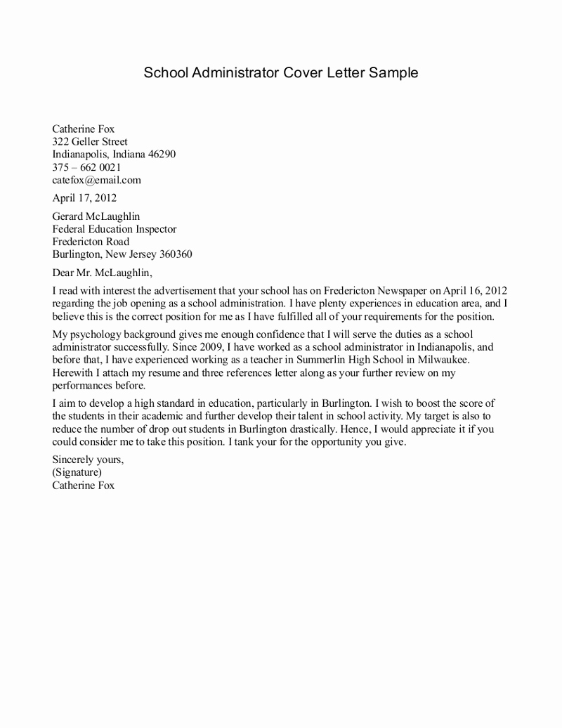 School Secretary Cover Letter Template - 20 Cover Letters for Secretary