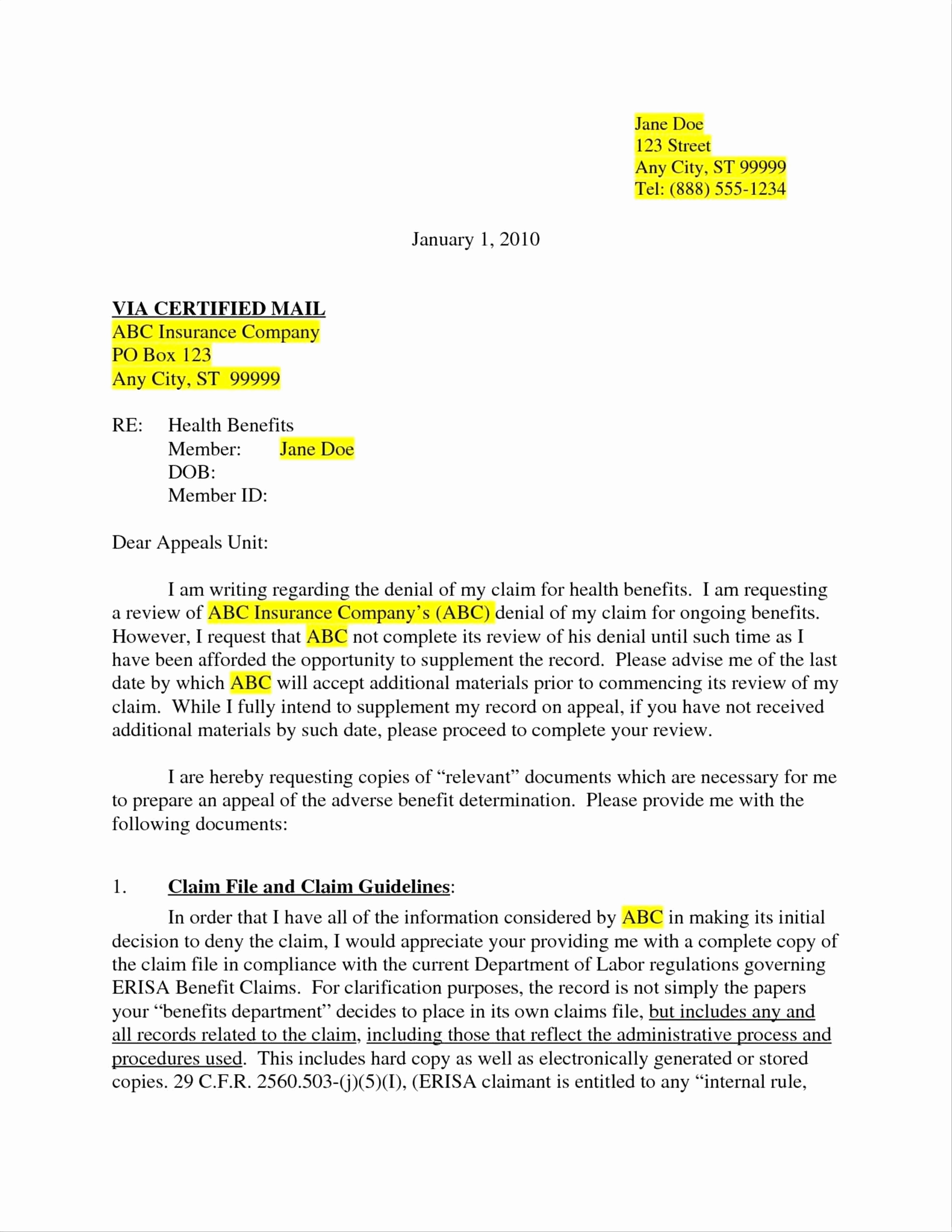 Insurance Denial Letter Template - 20 Sample Disability Appeal Letter