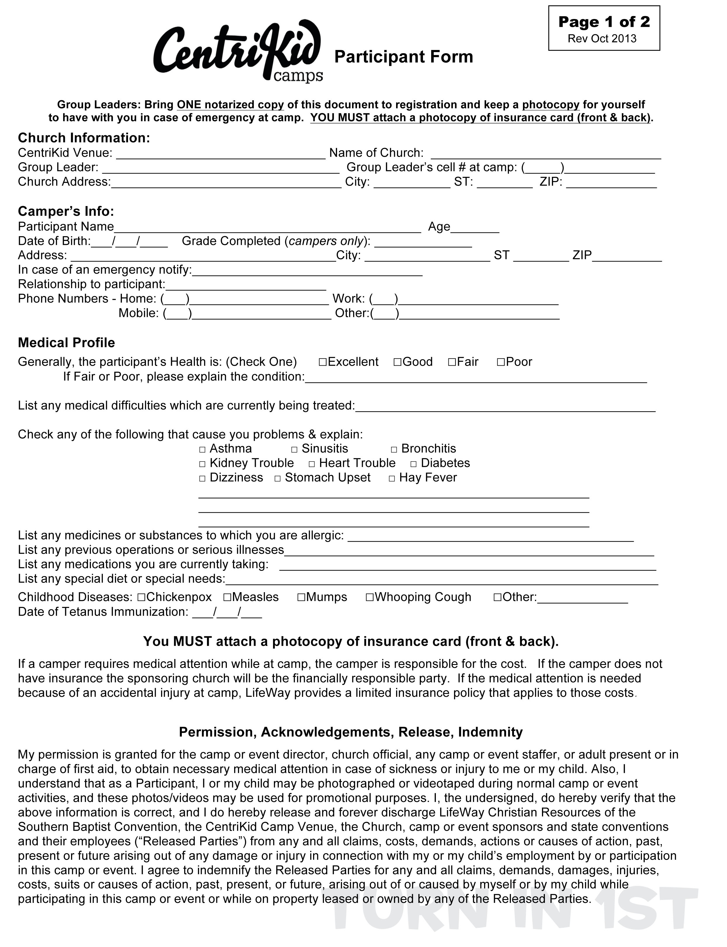 Medical Release Letter Template - 2015 Centrikid Release form First Baptist Church fort Payne