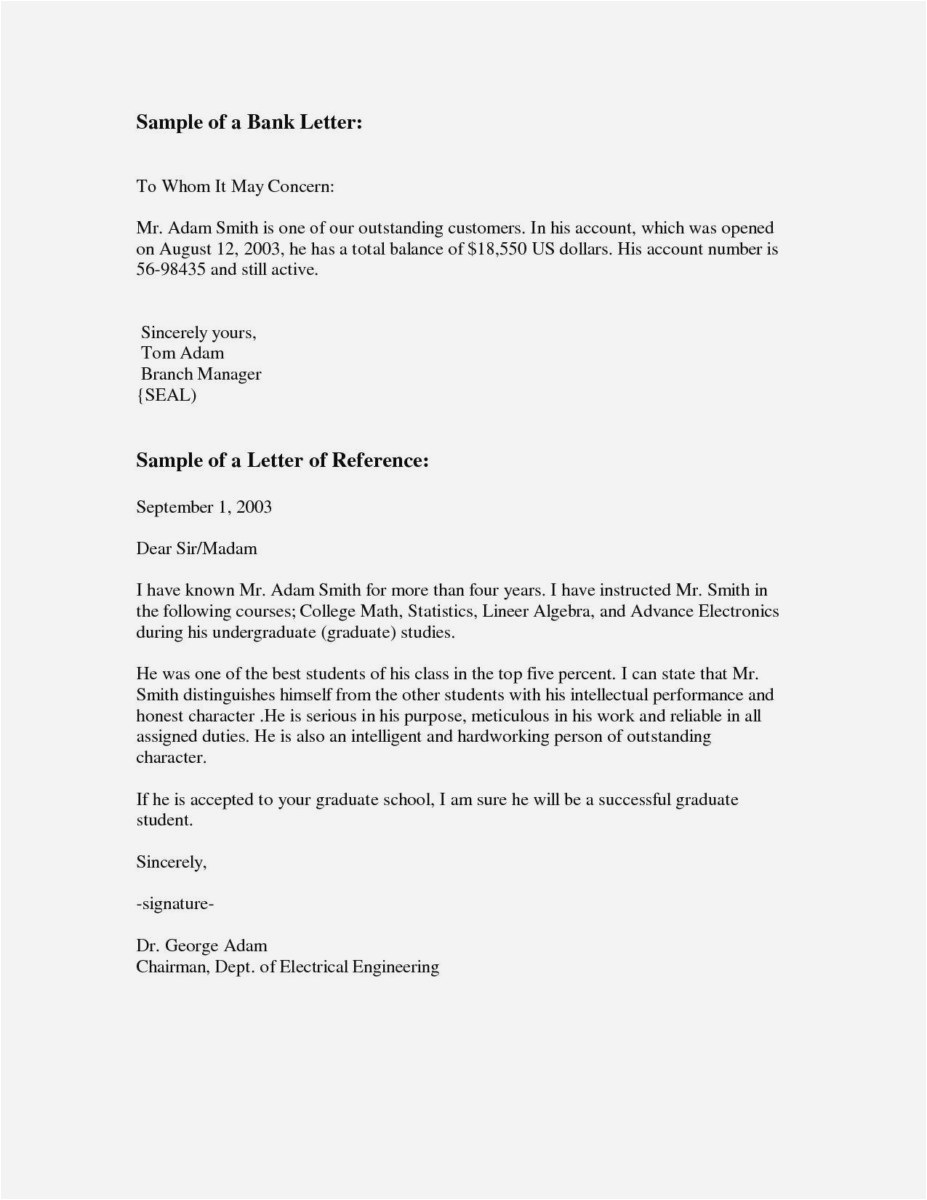 Free Sample Reference Letter Template - 23 Letter Re Mendation for Graduate School Sample Example