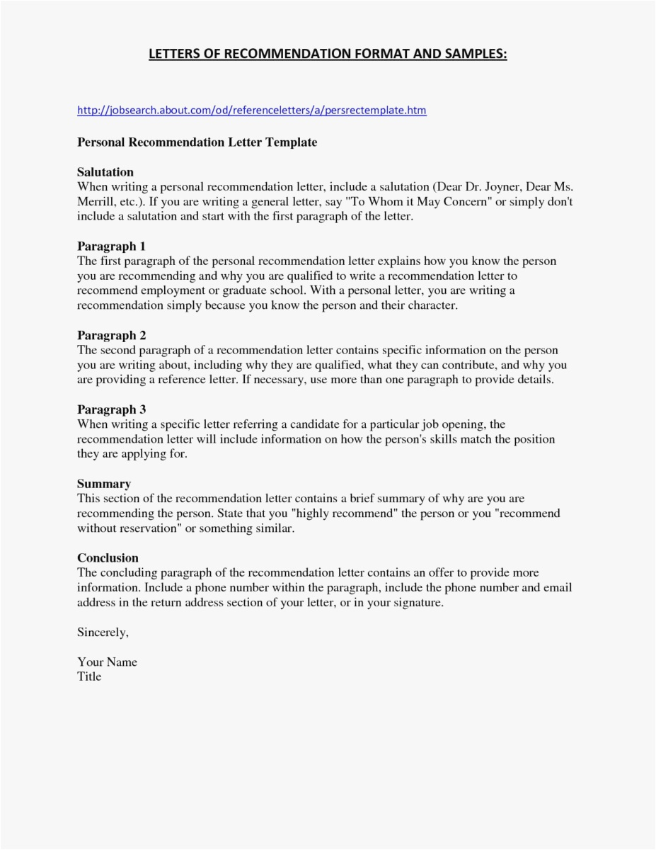 Grad School Letter Of Recommendation Template - 23 Letter Re Mendation for Graduate School Template Simple
