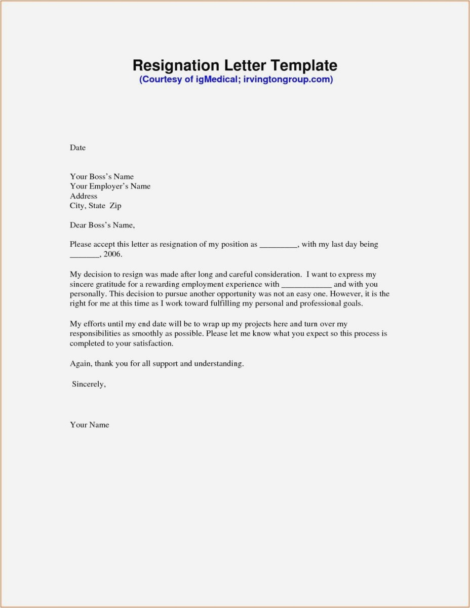 Writing A Resignation Letter Template - 23 New Writing Resignation Letter Examples