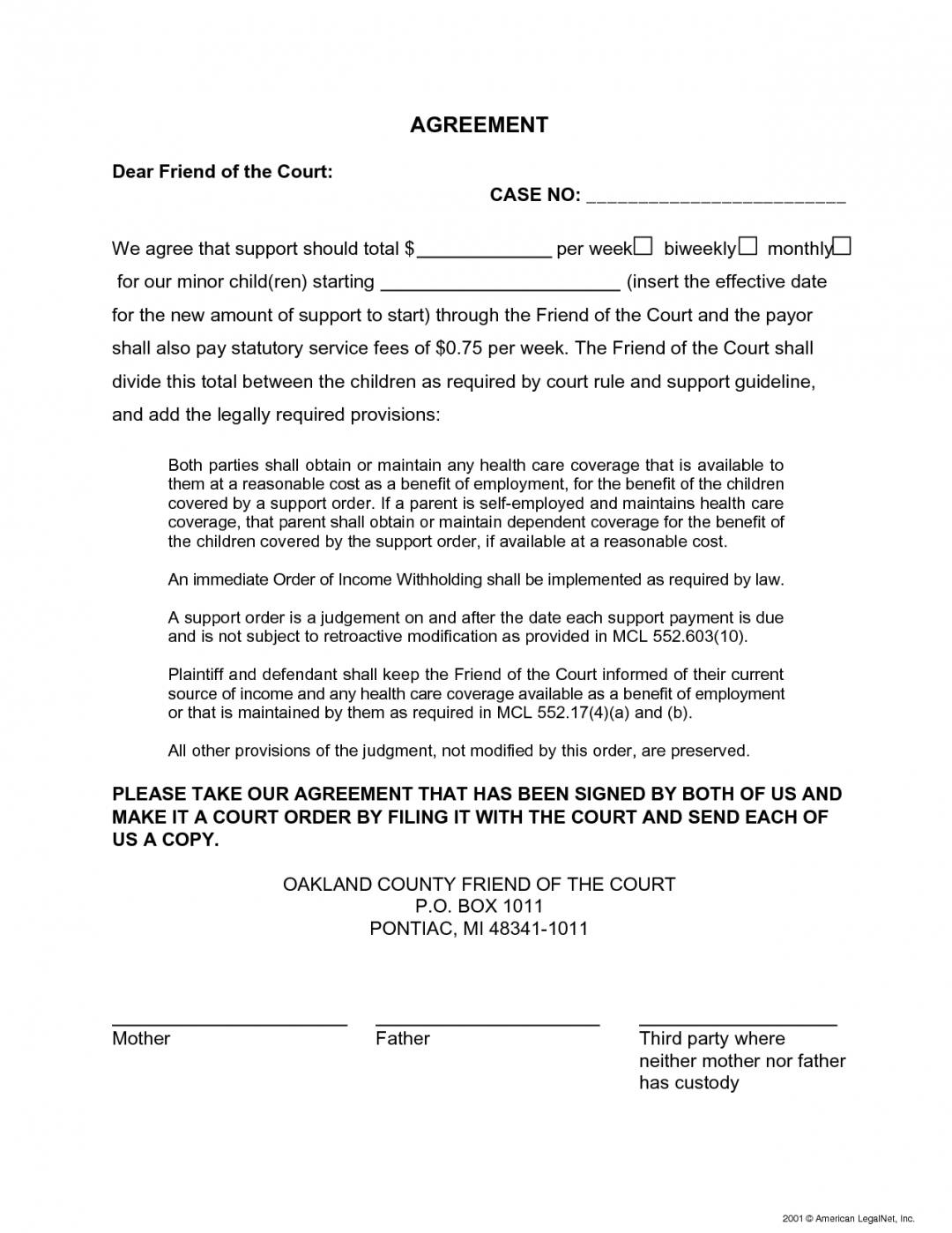 Child Support Modification Letter Template - 24 Awesome Sample Child Support Agreement Letter Template