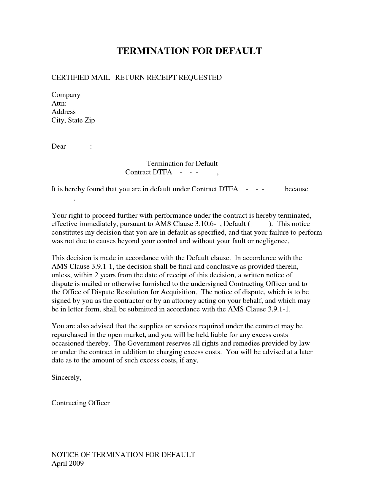 Business Contract Termination Letter Template - 24 Best Ending Lease Agreement Letter Sample
