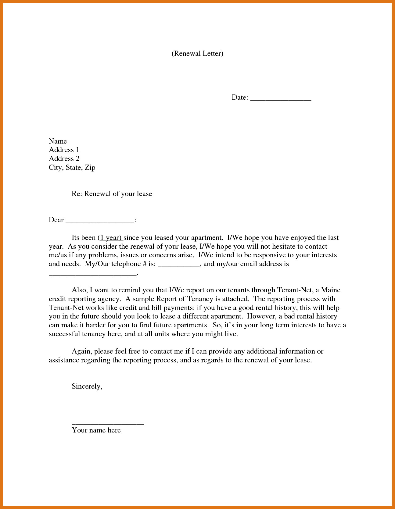 Landlord Agreement Letter Template Examples Letter Templates