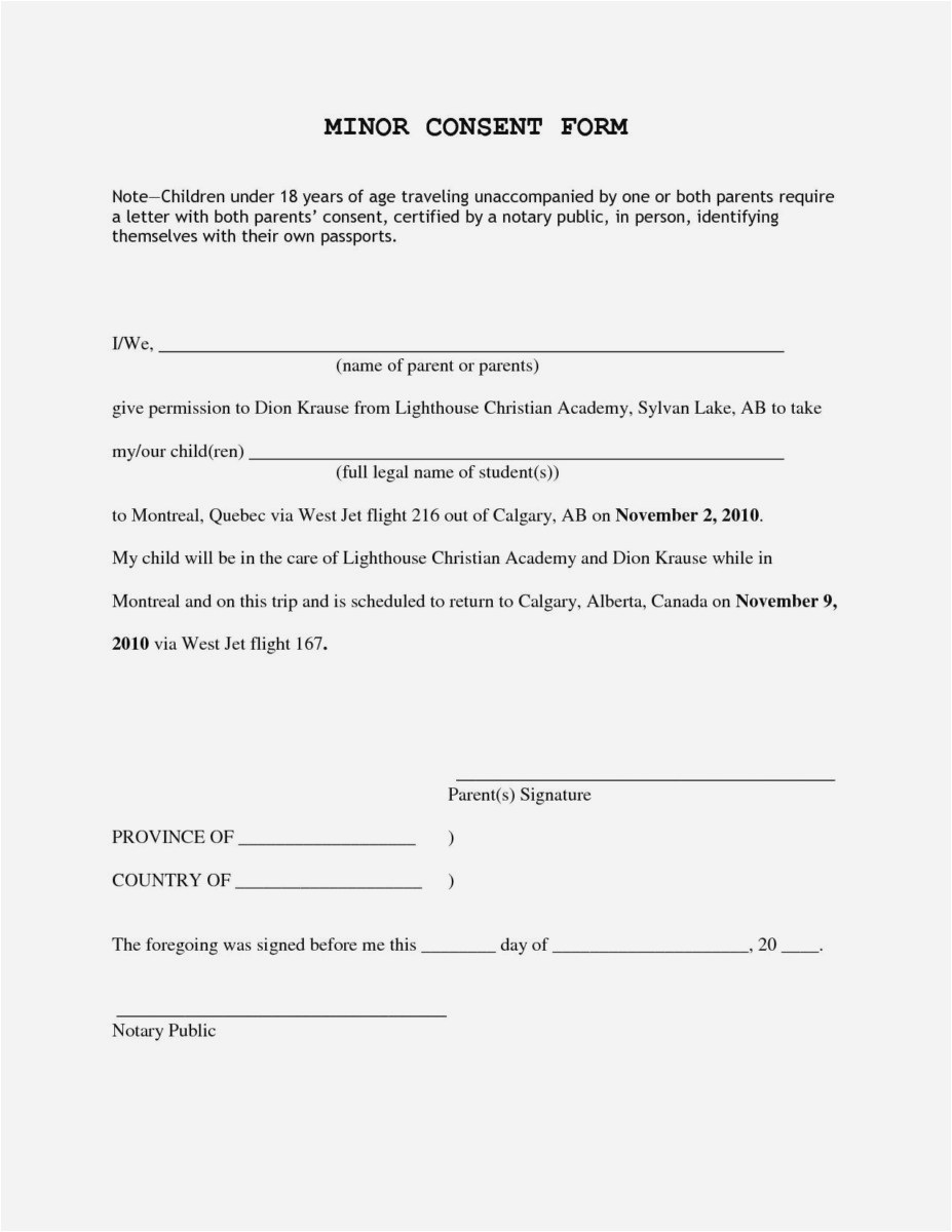Permission to Travel Letter Template - 25 New Letter Consent format