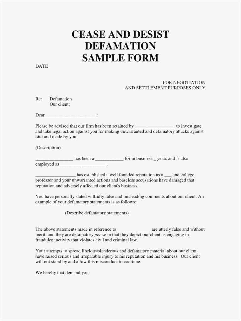 defamation of character letter template Collection-13 cease and desist letter template cease and desist letter slander of cease and desist letter template free 4-m