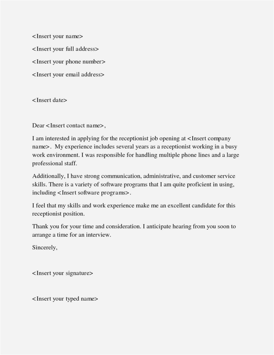 Cover Letter Template for Receptionist - 26 Free Employment Cover Letters Picture