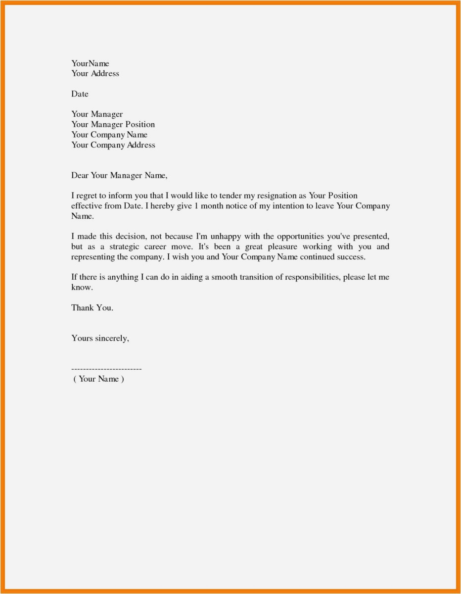 Resignation Letter Template Free Download - 26 Resignation Letters Simple