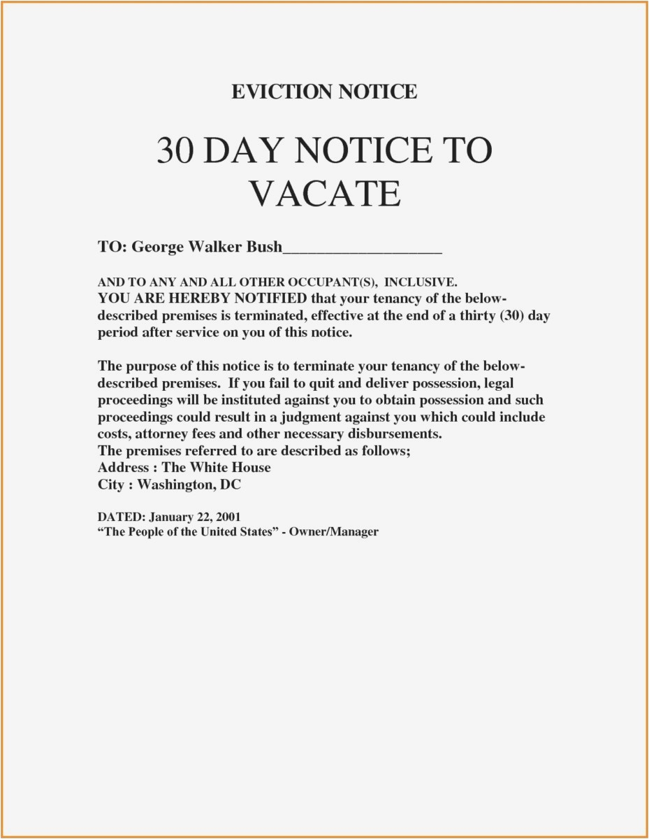 30 Day Eviction Letter Template - 27 30 Day Notice to Vacate Template Picture