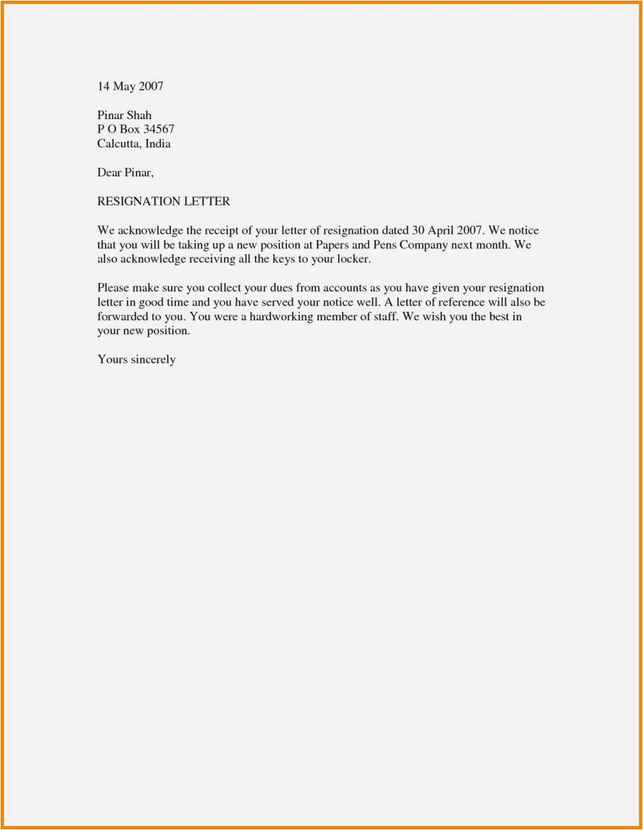 Resignation Letter Template - 27 Best Resignation Letter Samples Model
