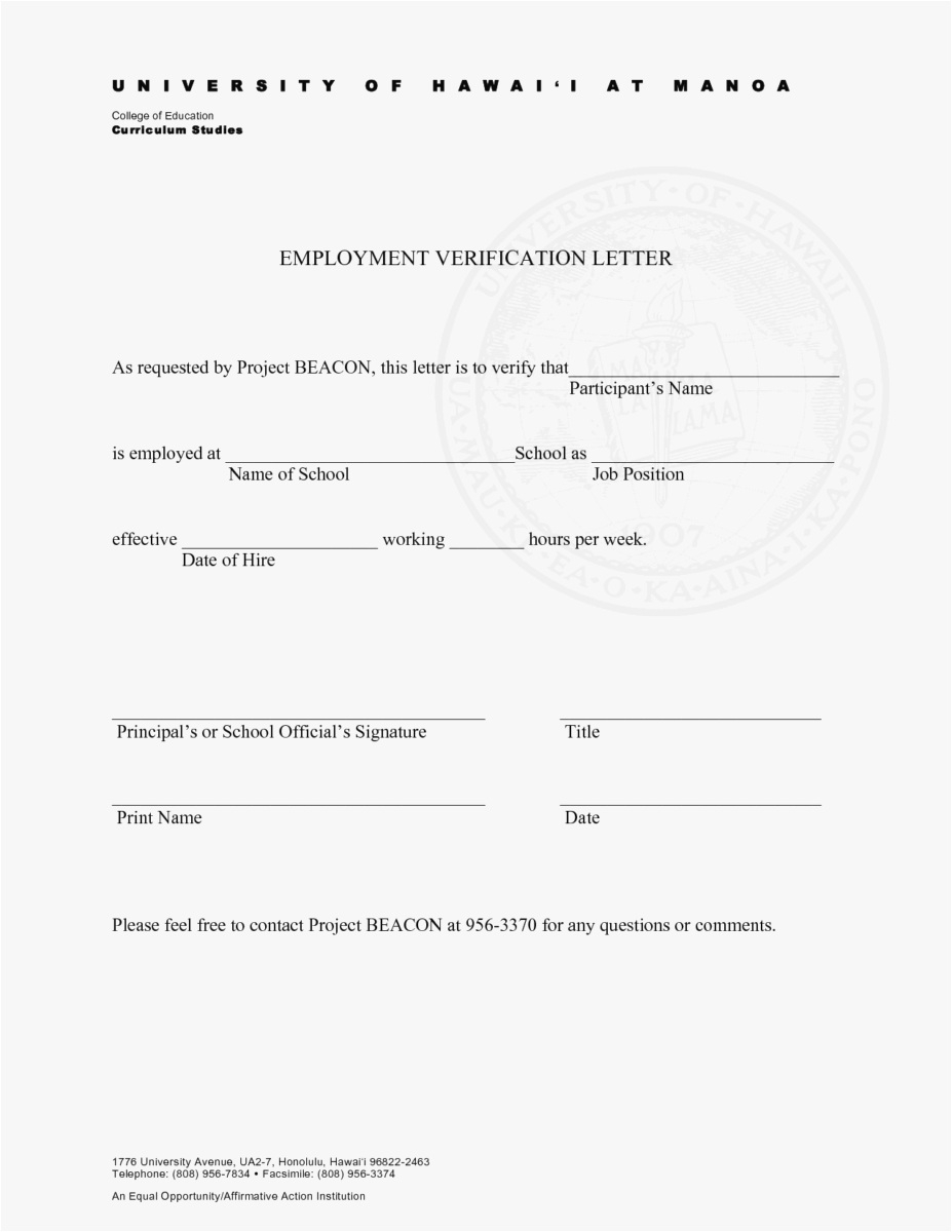 Proof Of Employment Letter Template Word - 27 Employment Verification Letter Template Word Simple