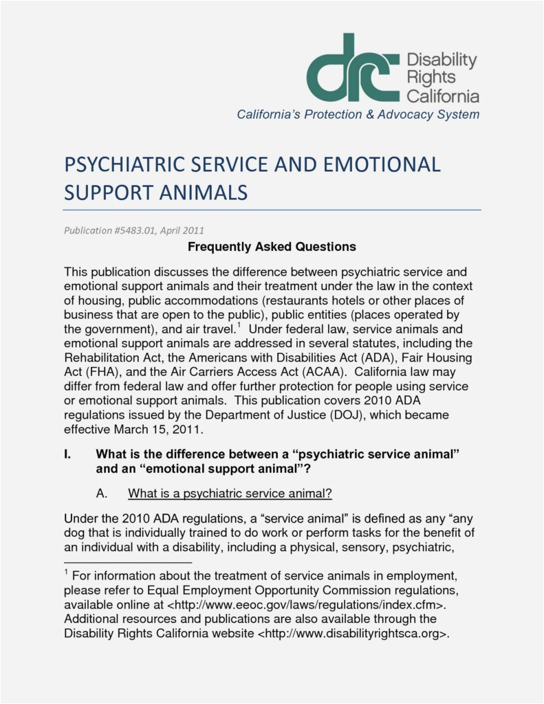 Psychiatric Service Dog Letter Template - 27 New Sample Emotional Support Animal Letter Download
