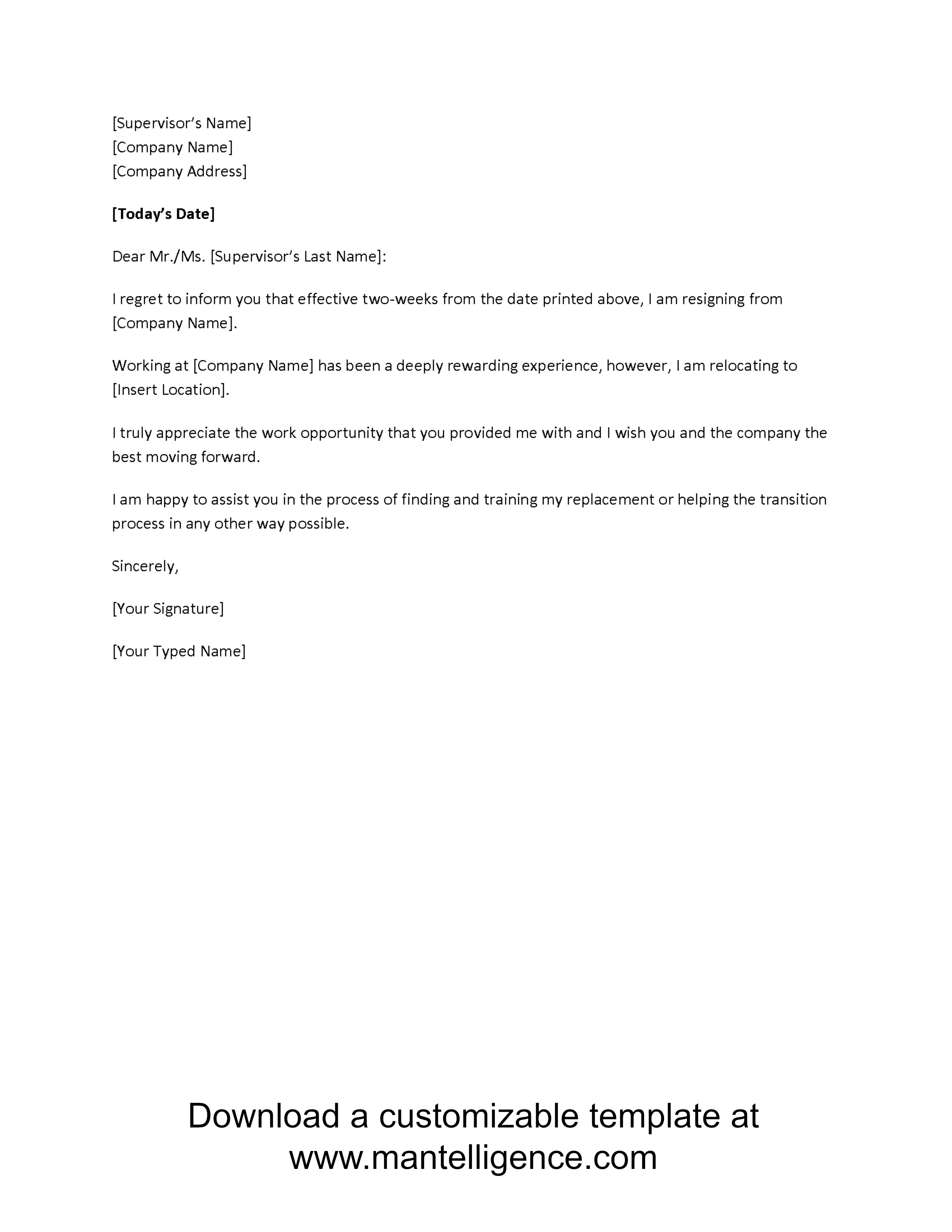 Free Employment Verification Letter Template Download - 3 Highly Professional Two Weeks Notice Letter Templates