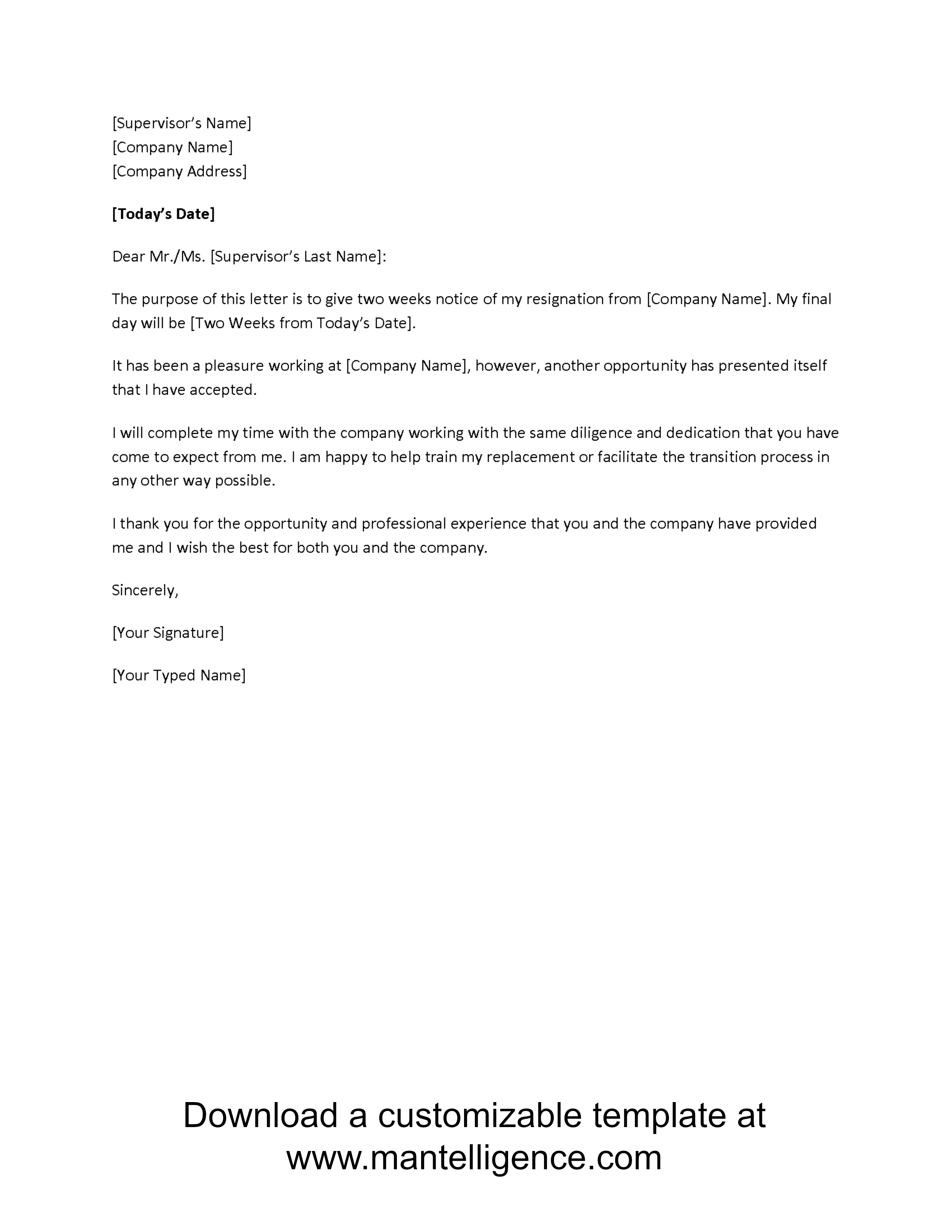 Resignation Letter Template Free - 3 Highly Professional Two Weeks Notice Letter Templates