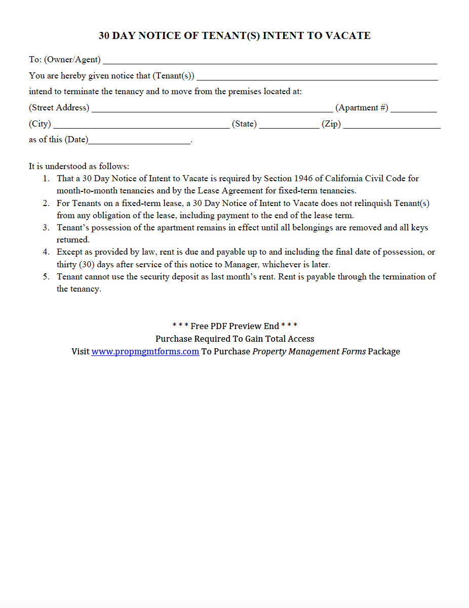 Notice Of Intent to Vacate Letter Template - 30 Day Notice Of Tenant S Intent to Vacate Pdf
