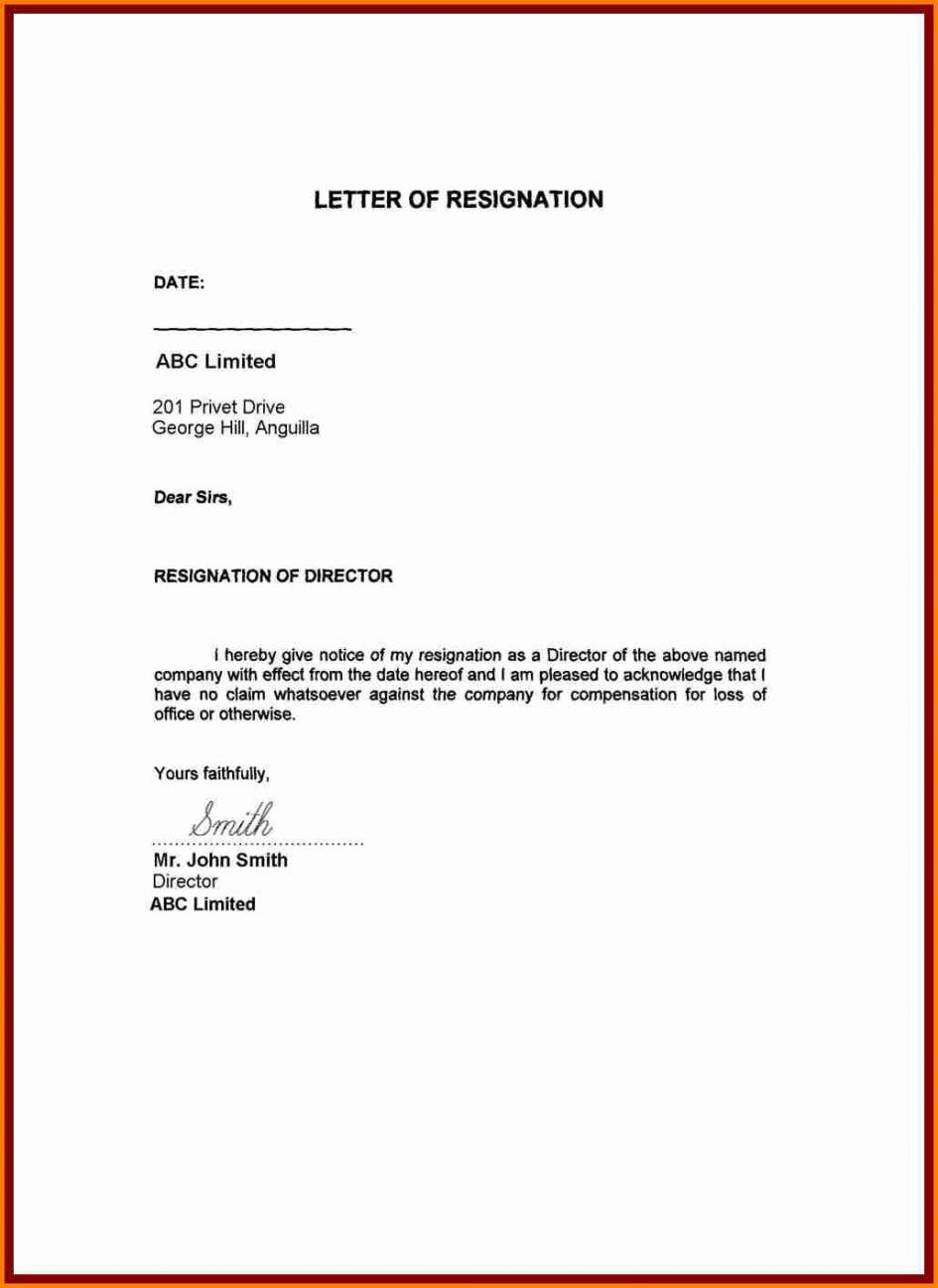 Immediate Resignation Letter Template Samples Letter Templates