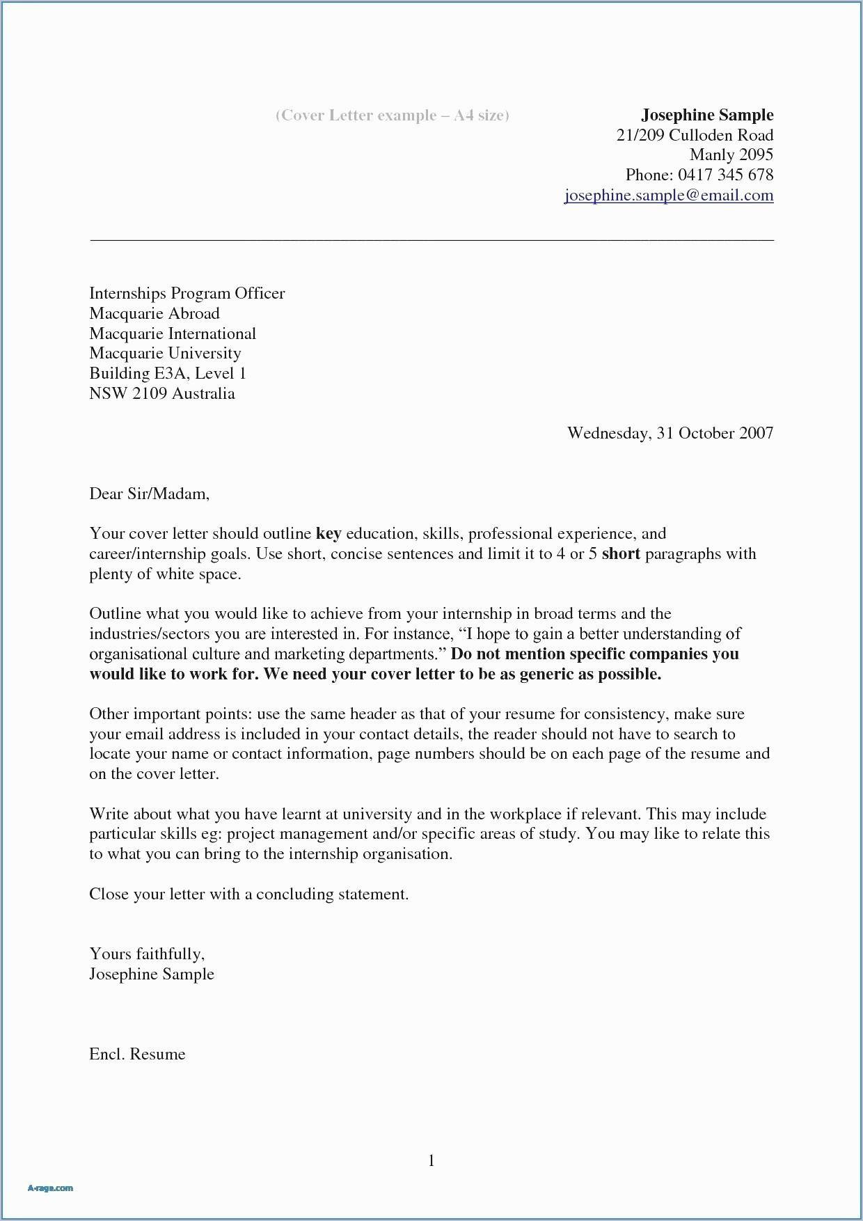 Internship Cover Letter Template - 35 Elegant How to Type A Cover Letter