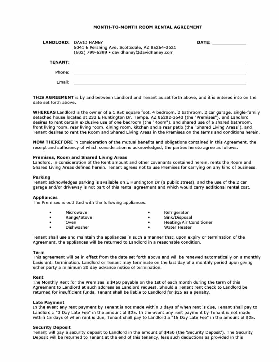 Letter Of Agreement Template Between Two Parties - 39 Simple Room Rental Agreement Templates Template Archive