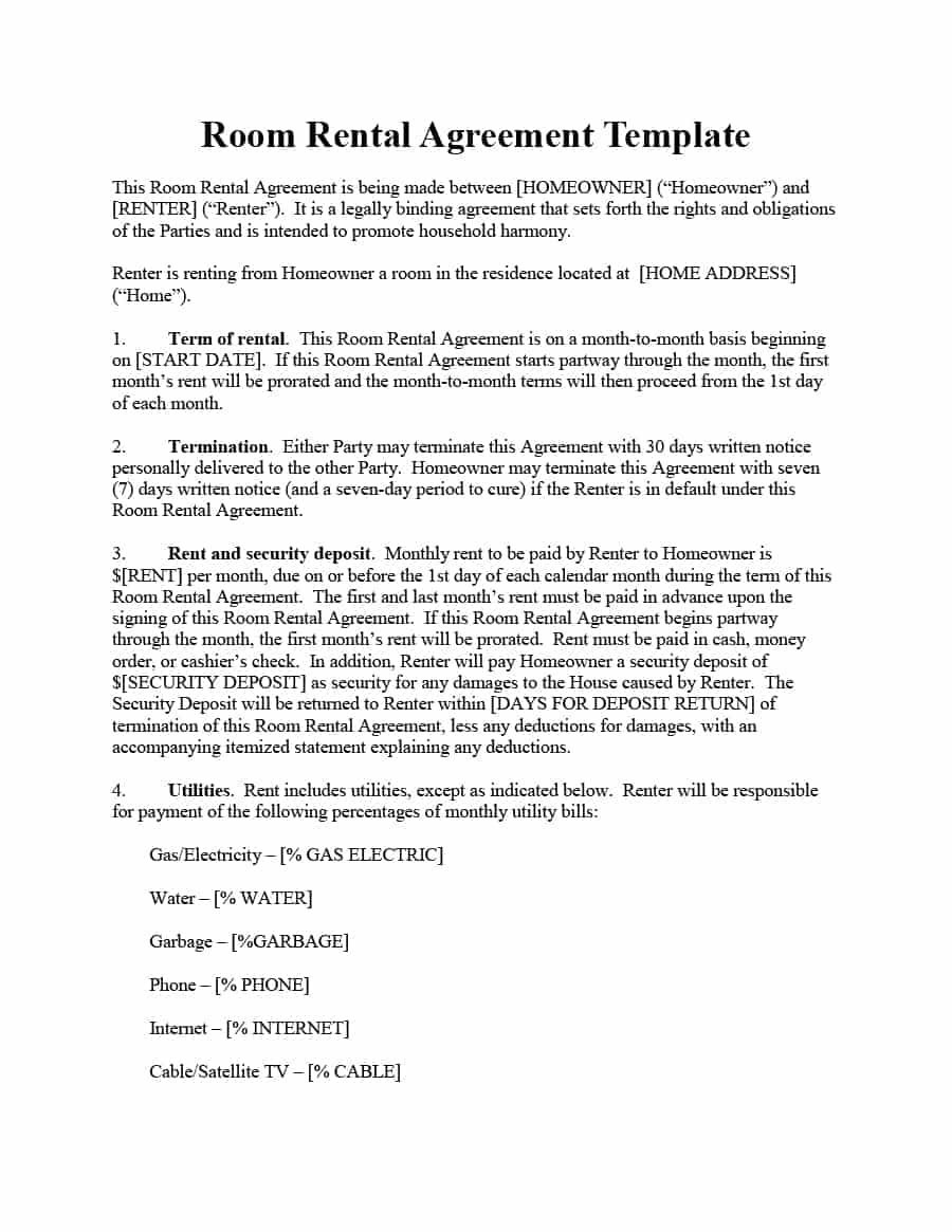 Month to Month Lease Termination Letter Template - 39 Simple Room Rental Agreement Templates Template Archive