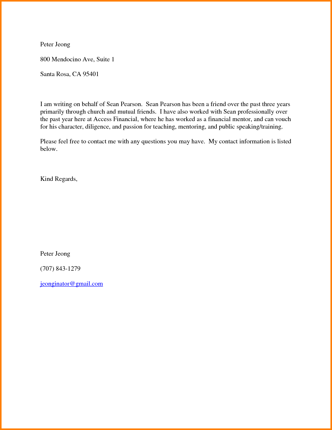 Free sample personal reference letter template examples letter free sample personal reference letter template 7 character letter for a friend resume reference expocarfo Gallery