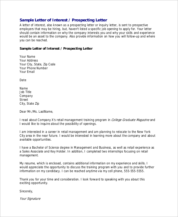 Letter Of Interest for Employment Template - 8 Letter Of Interest Samples