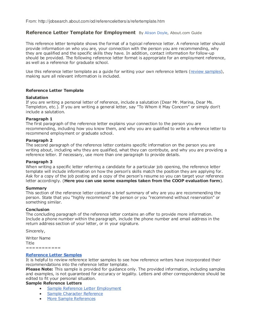 Generic Letter Of Recommendation Template - 9 Employee Reference Letter Examples & Samples In Pdf Reference