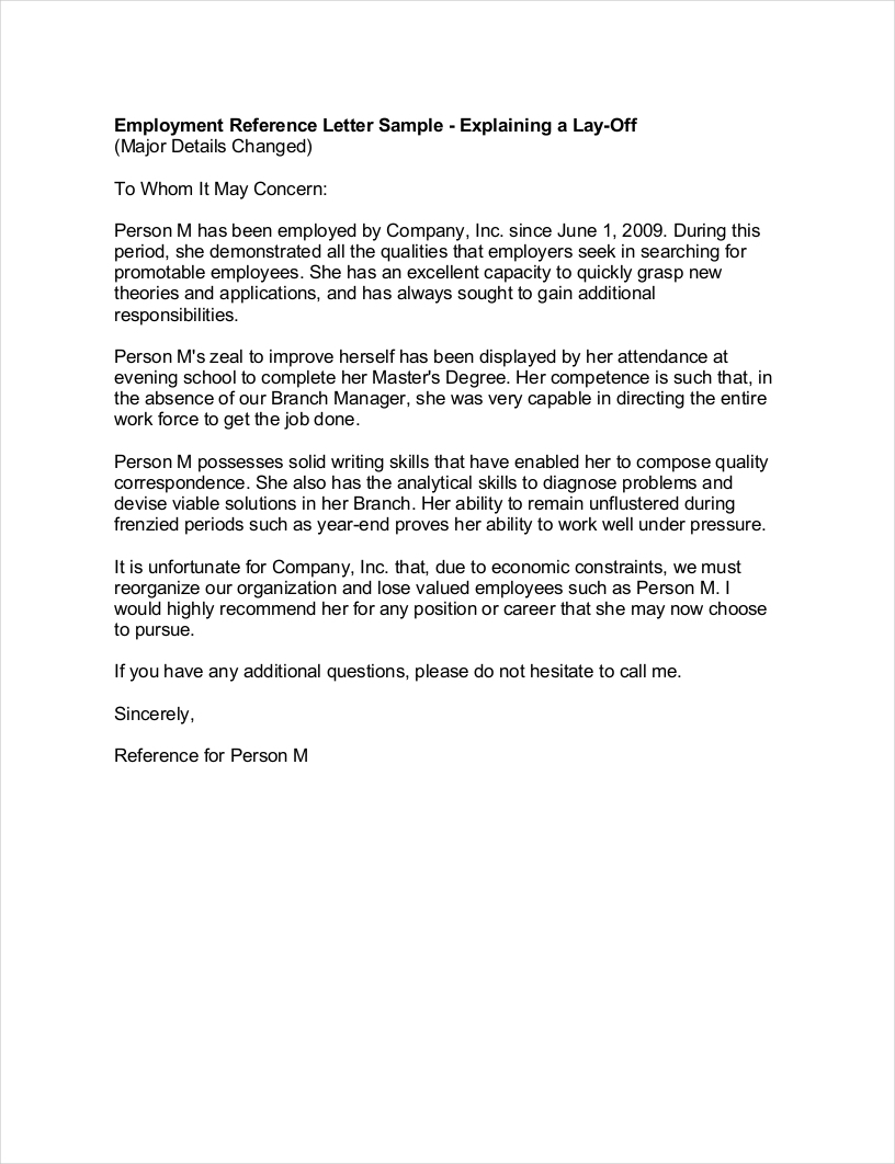 Letter Of Recommendation Template Pdf - 9 Employment Re Mendation Letter