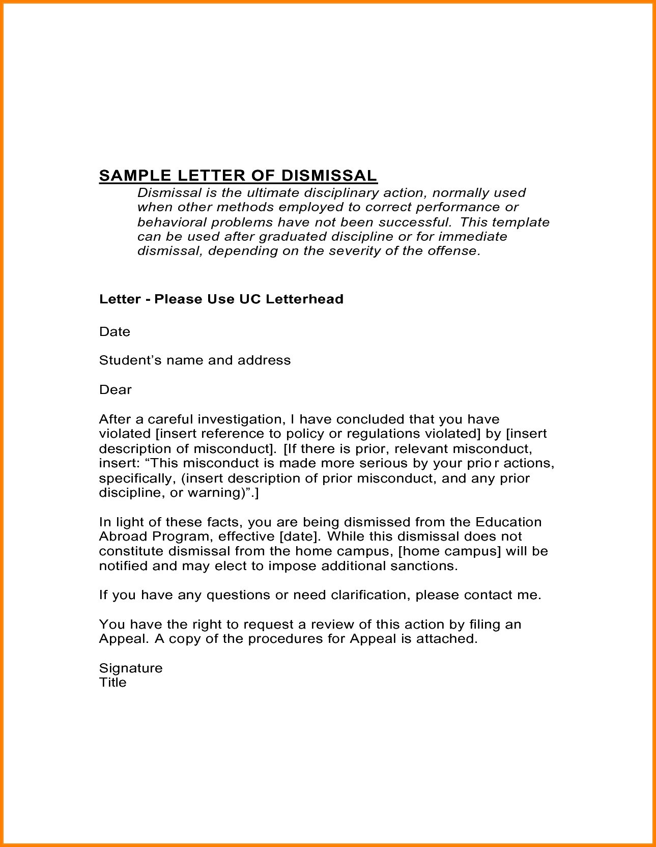 Dismissal Letter Template - Academic Probation Letter Template Personalinjurylovete