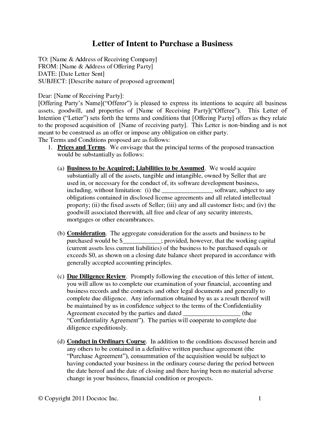 basic letter of intent template example-Acquisition Business Letters 19-f