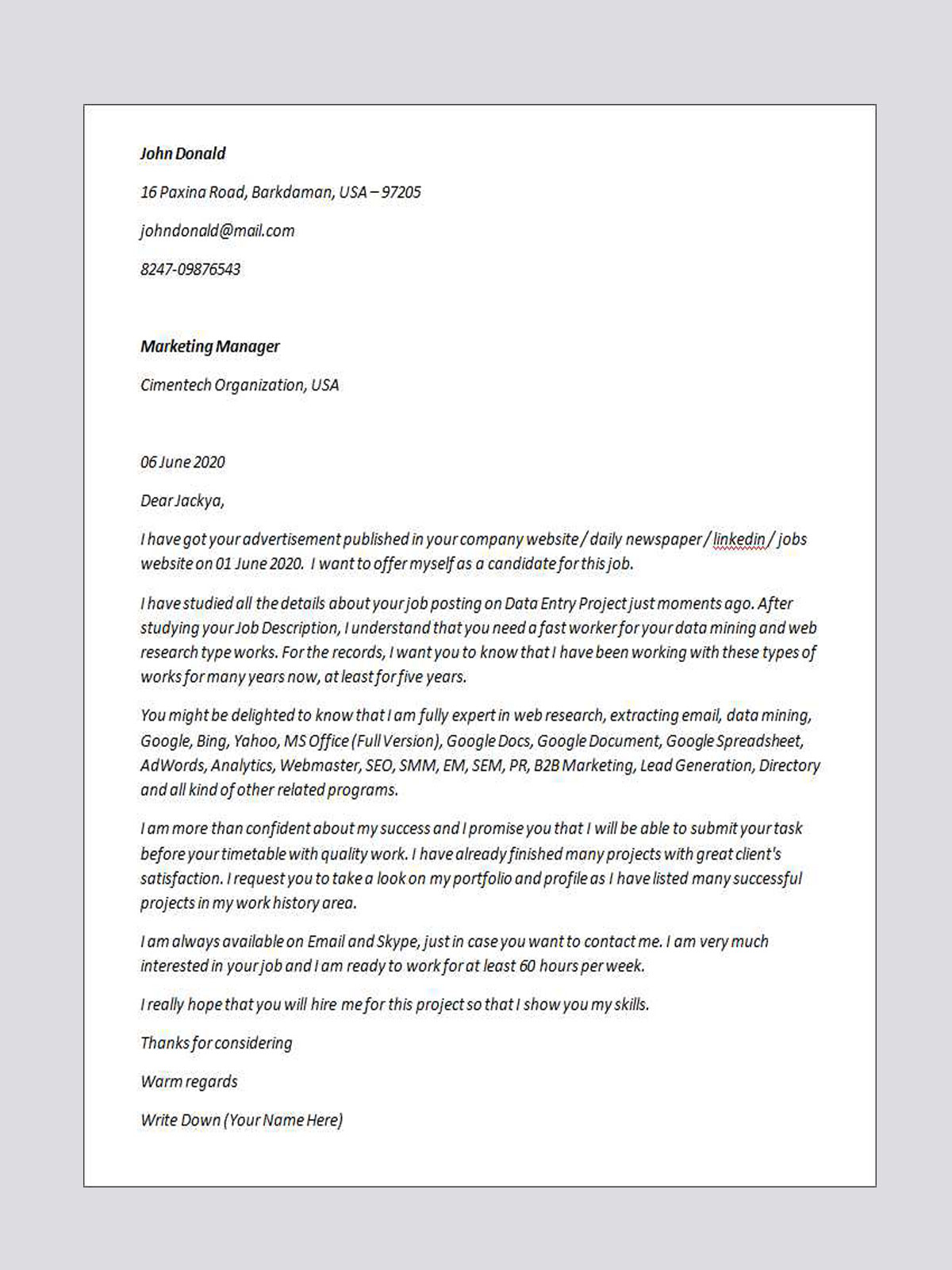 Upwork Cover Letter Template Samples Letter Templates