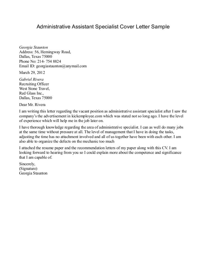 executive assistant cover letter template example-administrative assistant specialist cover letter 2-m