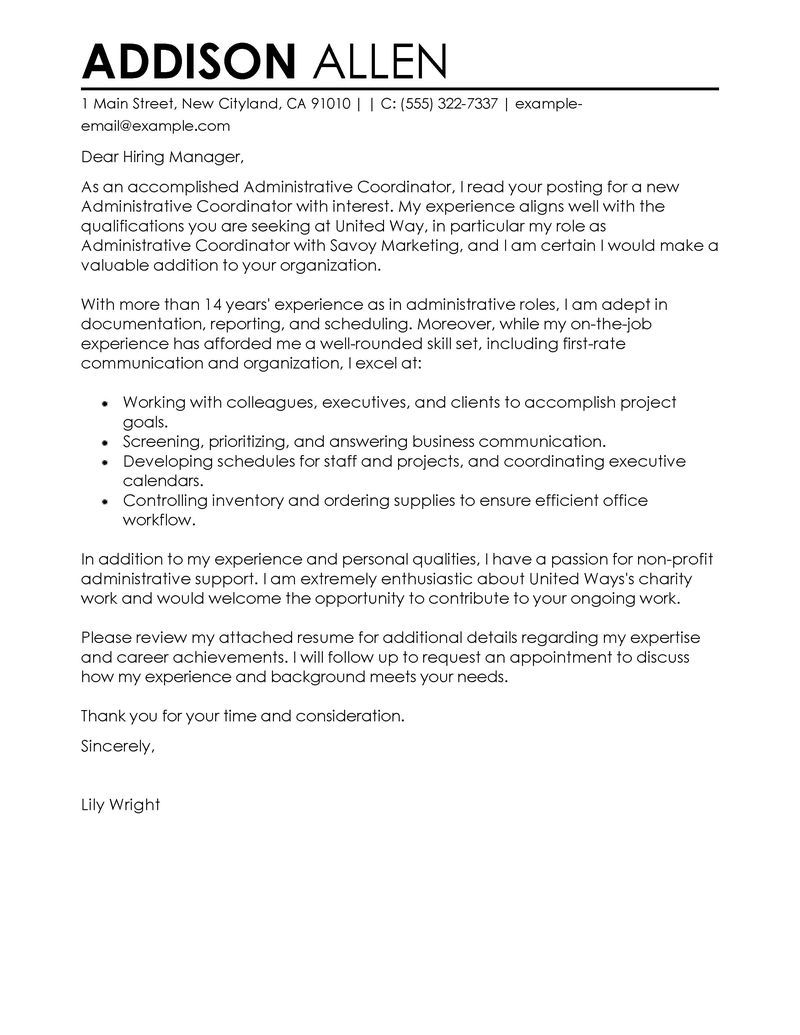 Warehouse Manager Cover Letter Template - Administrative Coordinator Cover Letter Examples