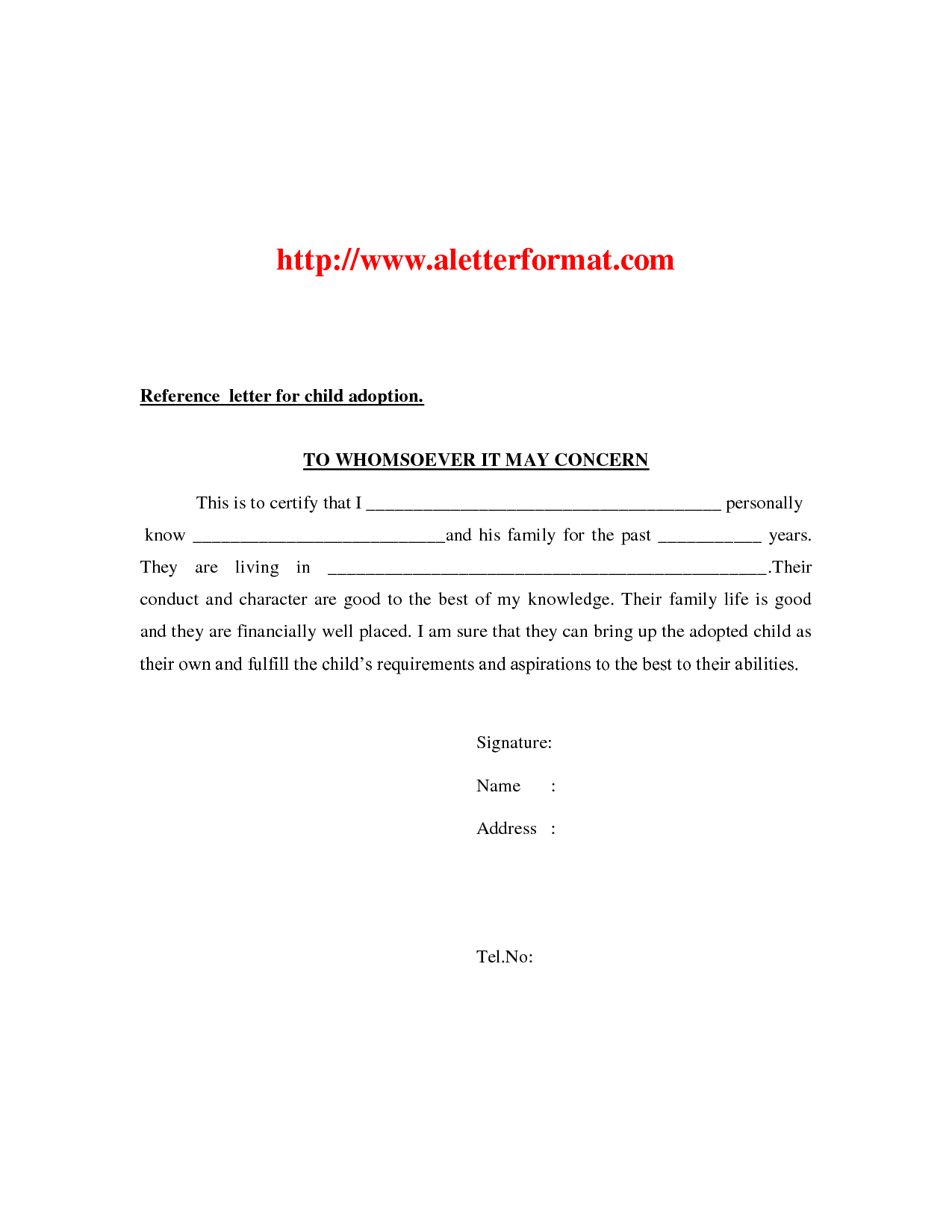 Adoption Reference Letter Template - Adoption Reference Letter Gallery Letter format formal Sample