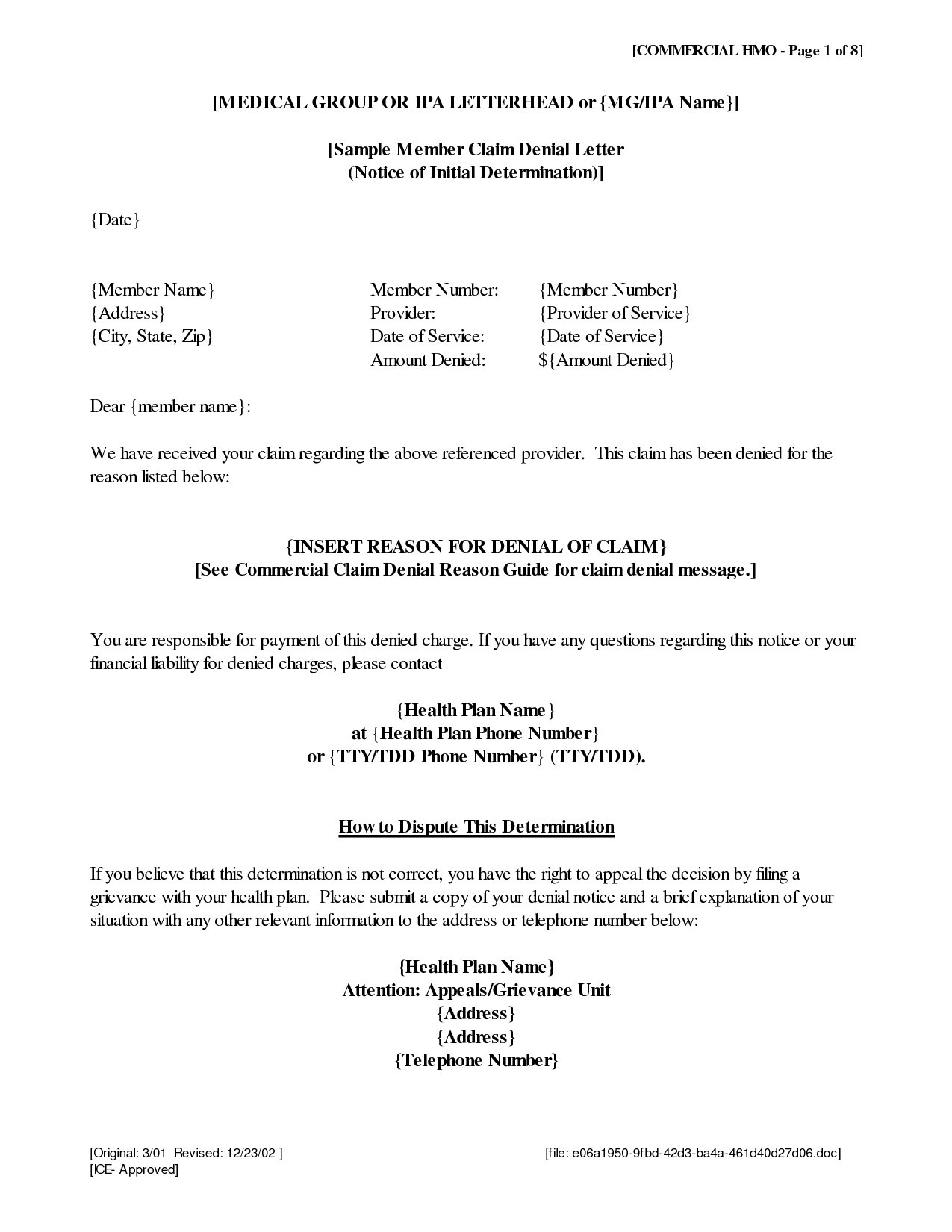 Medical Claim Appeal Letter Template - Appeal Letter Template Medical New Gallery Title Insurance Claim