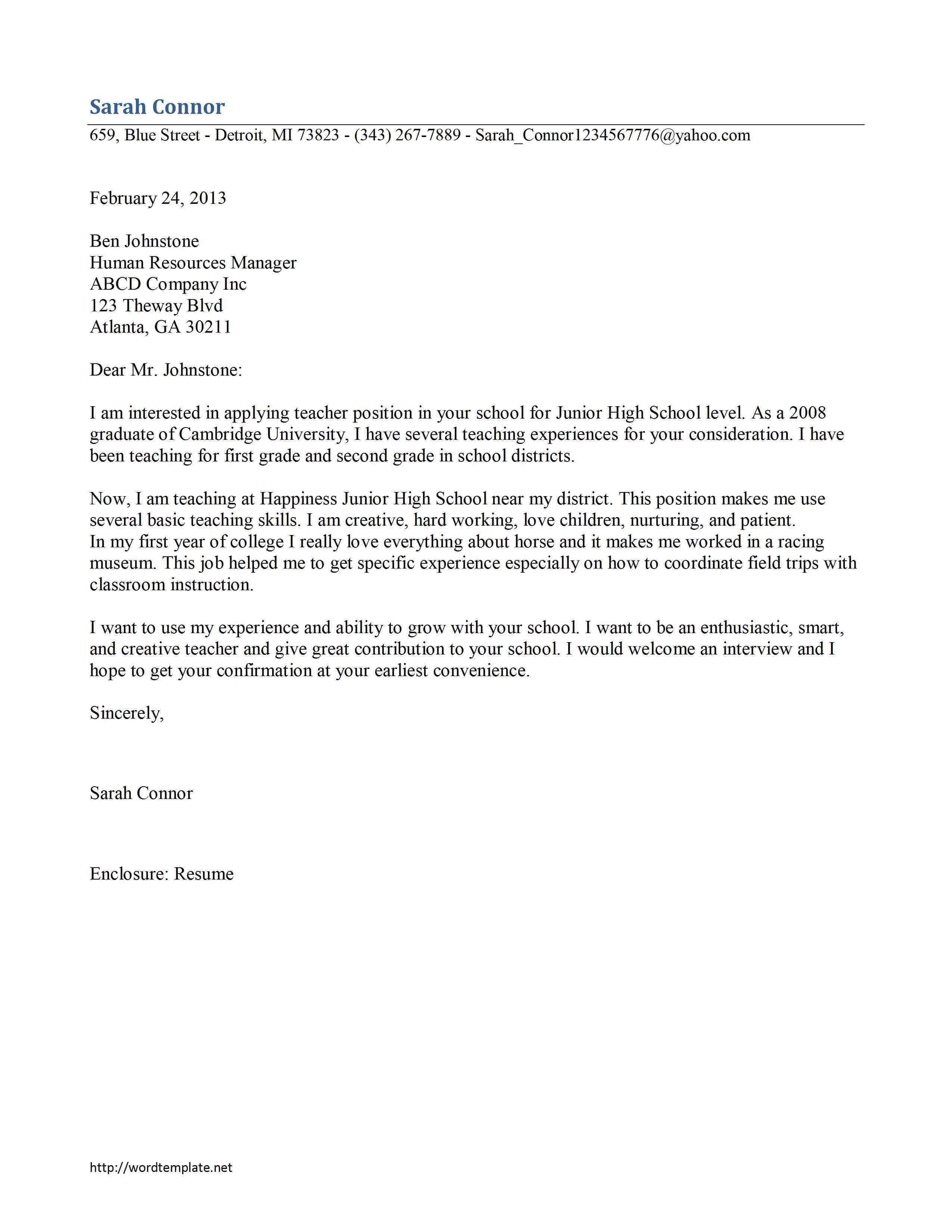 Template for Cover Letter for Teaching Position - Application Letter for Experience Certificate for Teacher Penn State