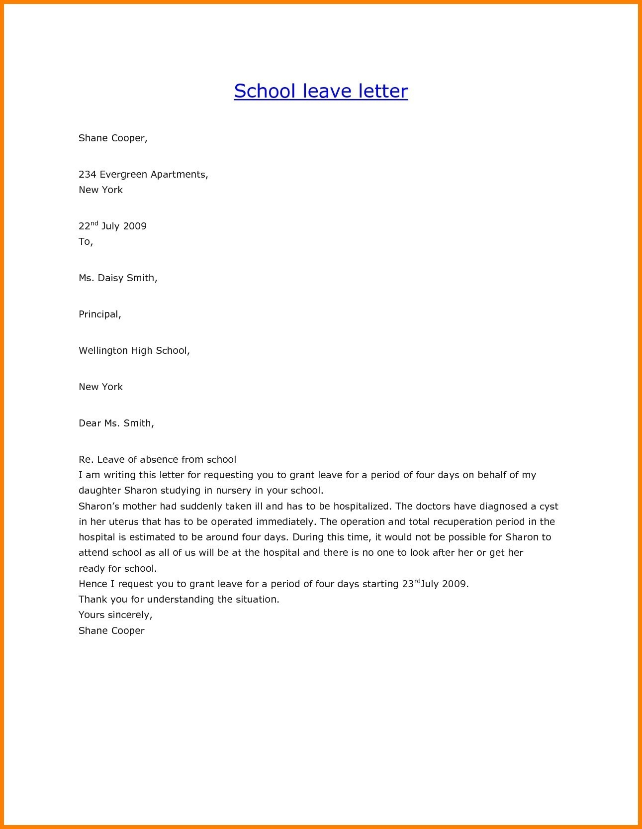 Medical Leave Of Absence Letter Template - Application Letter for Medical Leave Fresh How to Write An Absent