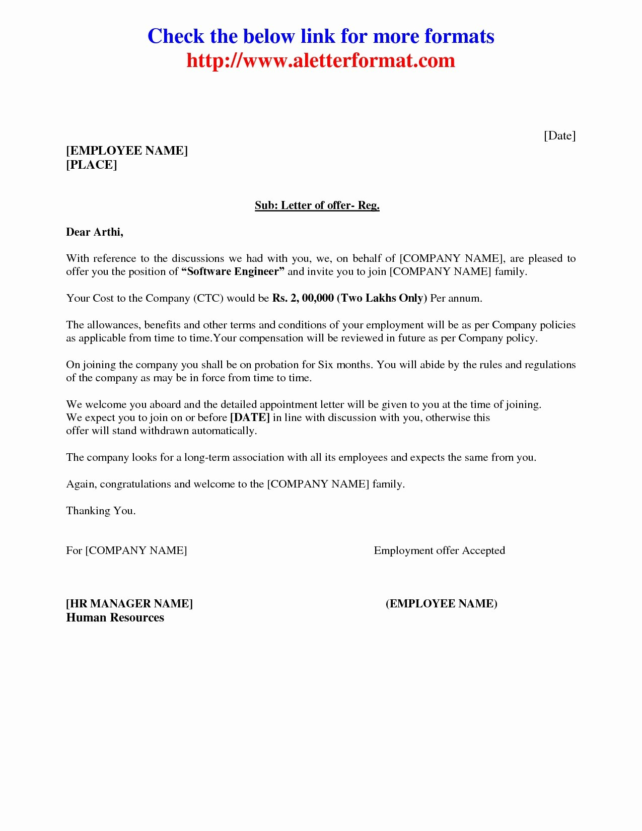 Job Offer Letter Template Free Download - Appointment Letter Sample In Word format India Copy Appointment