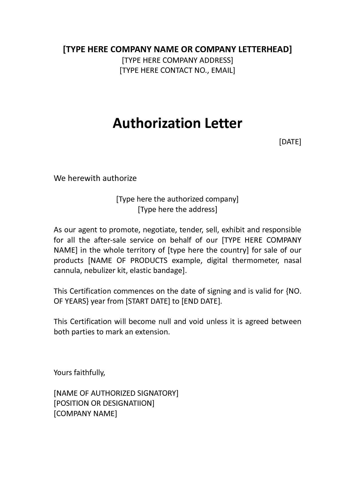 Independent Contractor Offer Letter Template - Authorization Distributor Letter Sample Distributor Dealer