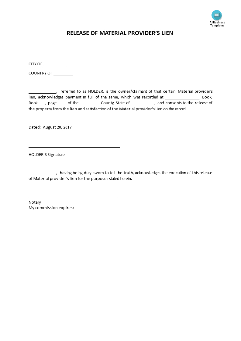 Auto Lien Release Letter Template - Awesome Lien Release Letter Your Template Collection