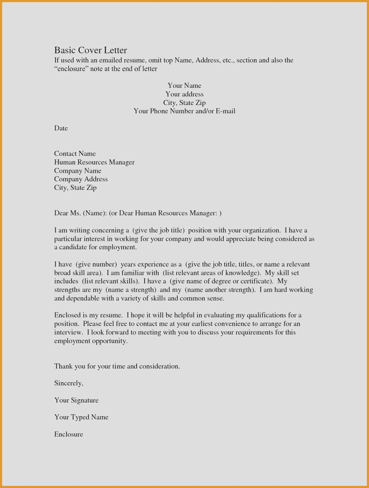 Quick Easy Cover Letter Template Examples | Letter Templates