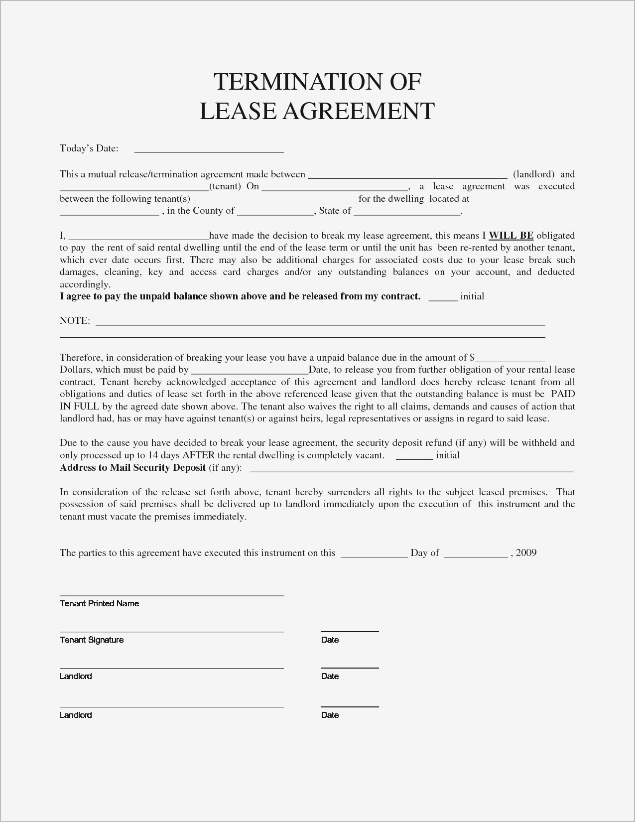 breaking lease agreement letter template Collection-Personal Property Rental Agreement Forms 9-l