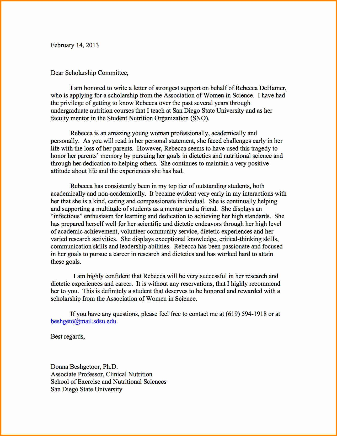Free Scholarship Recommendation Letter Template - Beneficial Gallery Reference Letter Template Twilightblog