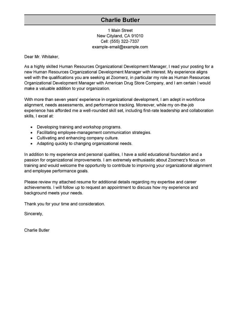 Performance Review Letter Template - Best organizational Development Cover Letter Examples