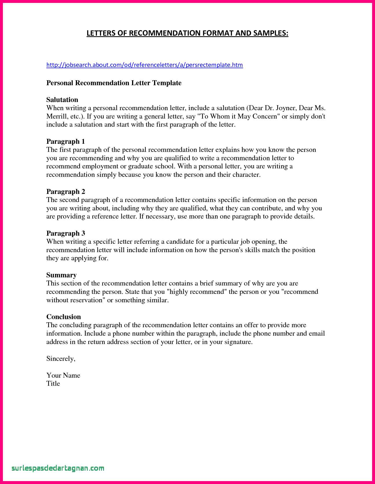 Free Printable Letter Of Recommendation Template - Best Re Mendation Letter Template for Job