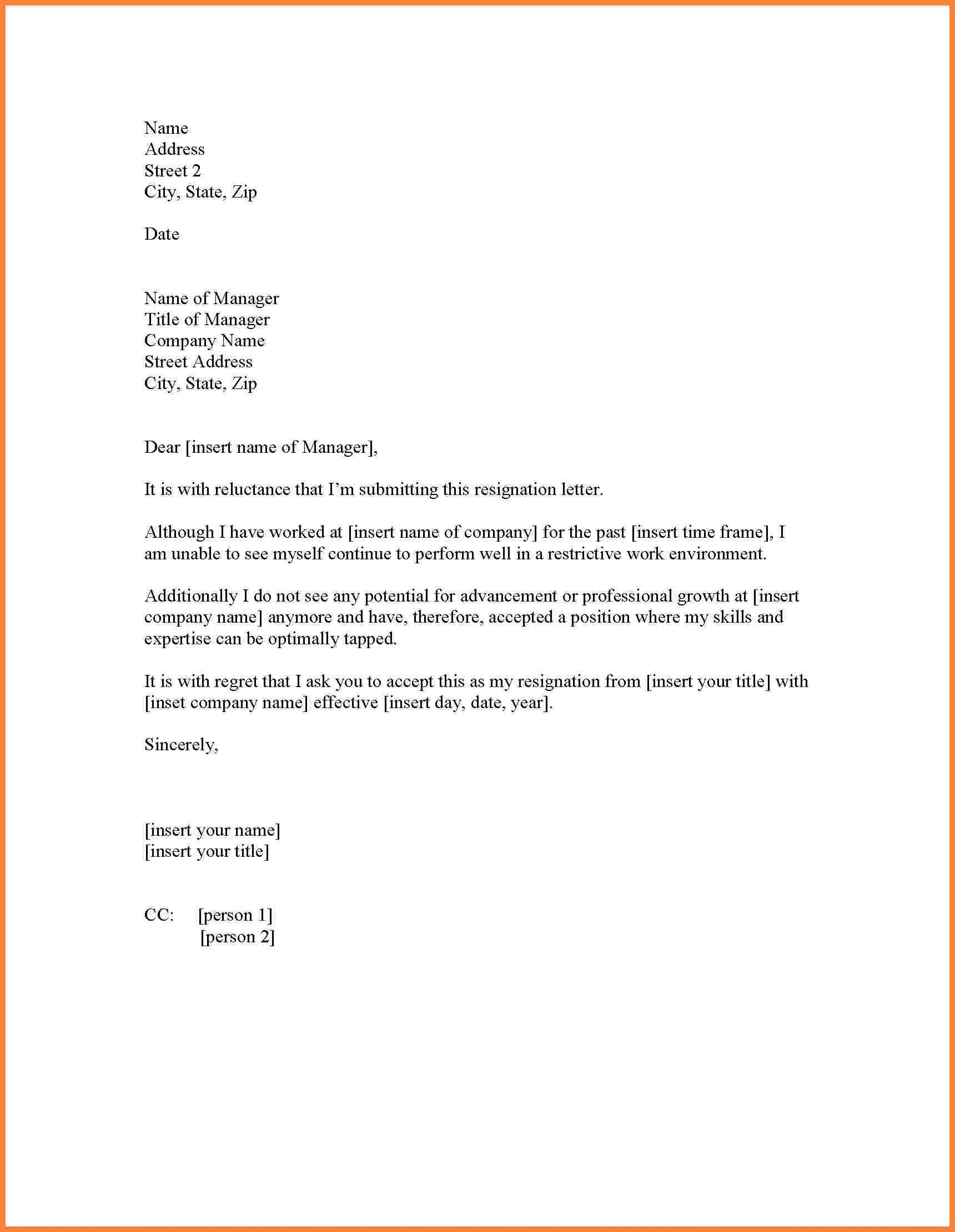 Immediate resignation letter template samples letter templates immediate resignation letter template best resignation letter for personal reasons resignation letter for thecheapjerseys Gallery